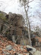 Rock Climbing Photo: Tall, steep arete in the hillside of the left leg,...