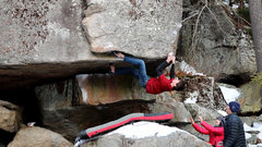 Rock Climbing Photo: Getting ready to grab the arete on Overlooked Righ...