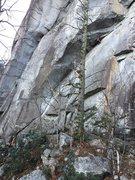 Rock Climbing Photo: Charles nearing the anchors.