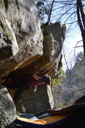 """Rock Climbing Photo: Parlier shooting out of the roof on """"Down for..."""