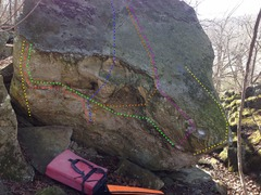 Rock Climbing Photo: North side of the North boulder.  Equivalents (Yel...