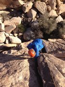 Rock Climbing Photo: Alex Barnett topping out on Marmacs Crack