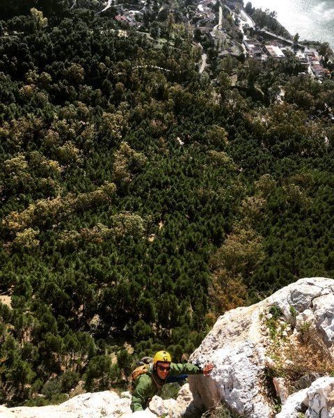 Rock Climbing Photo: Mid way up Lluvia