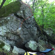 Rock Climbing Photo: The West end of the Myndset boulder (facing the ro...