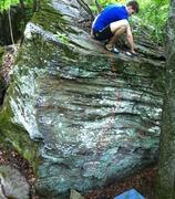 Rock Climbing Photo: Matt scrubbing the topout of the Elegance boulder....