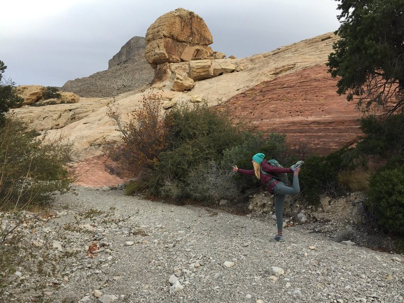 Rock Climbing Photo: Then walk under big balancing rock and follow the ...