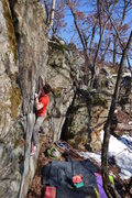 Rock Climbing Photo: Pulling through the crimps.