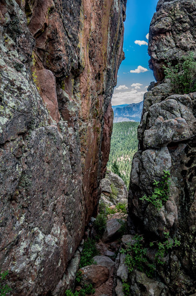 Rock Climbing Photo: Looking down Scooter Trash Wall overlooking Pike N...