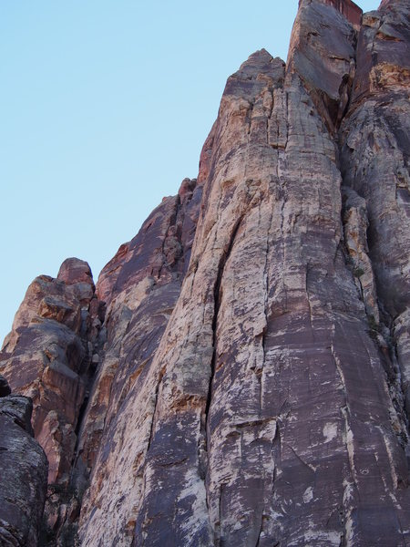 View of the buttress from the approach.  We're up there on P3/P4.