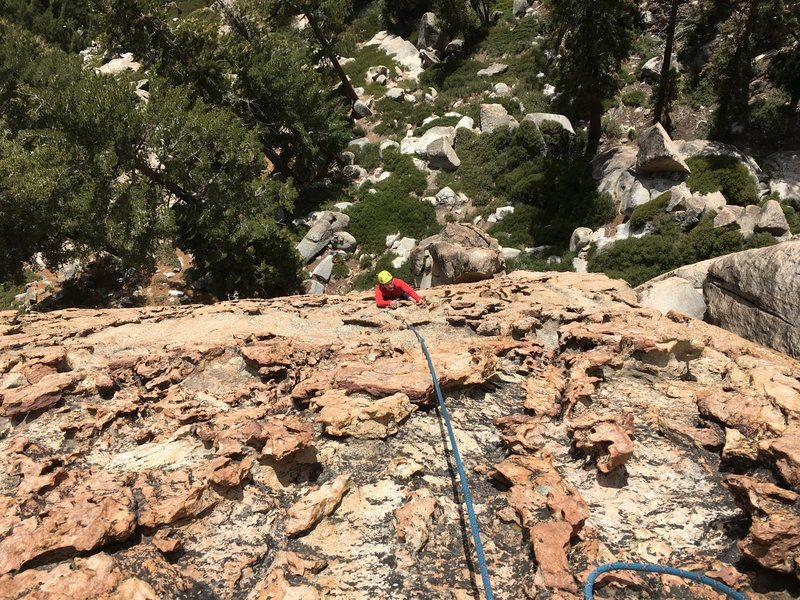 Rock Climbing Photo: Tim following up to first anchors on the solid kno...