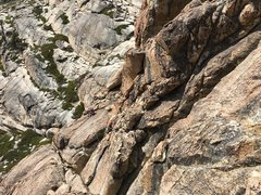 Rock Climbing Photo: Traverse from top of Follow the Light to top ledge...