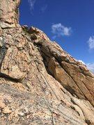 Rock Climbing Photo: View of top traverse from Follow the Light top bel...