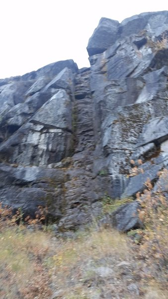 Rock Climbing Photo: A blurry picture of Dog Nasty Dike. It's hard ...