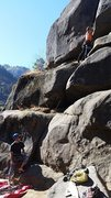 Rock Climbing Photo: View of the route from the belay up to the start o...