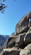 Rock Climbing Photo: Leading the very short crux hand/fist crack in the...