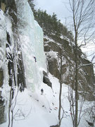 Rock Climbing Photo: One of the easier lines on the Waterfall (left of ...