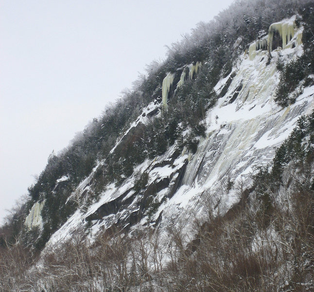 Hanging Spoons is the large column, high on the cliff, in the center of the photo.