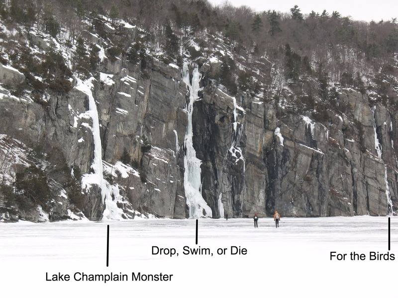Approaching the Palisades cliff from across Lake Champlain.
