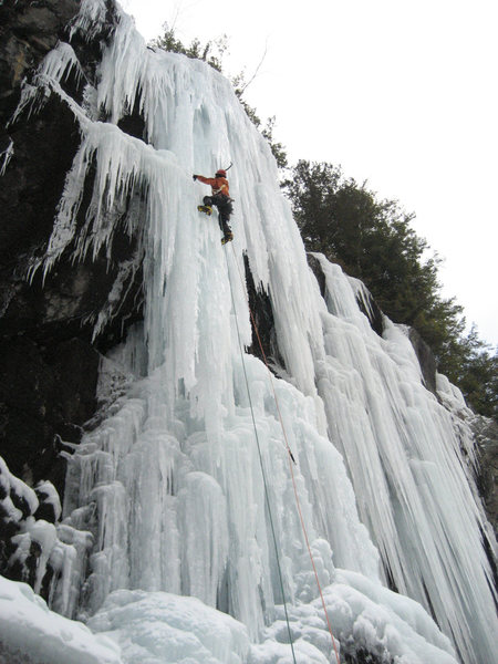 Climber on Cheese and Crackers (WI5) in fat conditions.