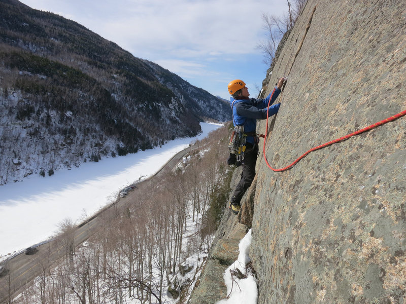 Just because it&#39;s winter doesn&#39;t mean you can&#39;t climb rock. P3 of Pete&#39;s Farewell.<br> <br> No crampons or ice tools please!