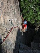 Rock Climbing Photo: Climber follows Emigrant Crack.