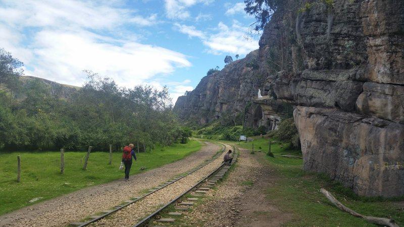 Walking down the railroad tracks from town toward the Madonna (La Virgin).