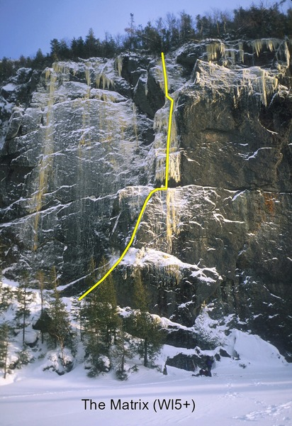 The Matrix Wall at Avalanche Lake, showing Gold Rush (on the left) and The Matrix (centered).