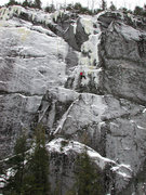 Rock Climbing Photo: Climber high on The Matrix. (This was on the first...