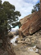 Rock Climbing Photo: Walking up to the face of the FPC Boulder from the...