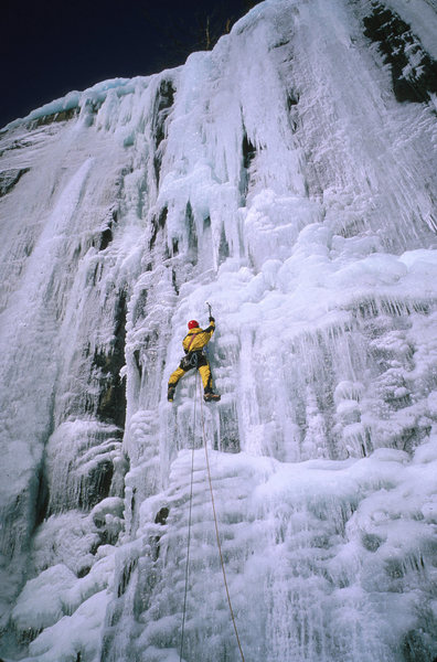 Rock Climbing Photo: One of the harder lines at the Poke-O Waterfall, b...