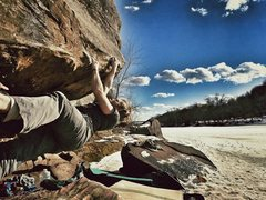 Rock Climbing Photo: Tyler sending on a warm winter day.