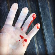 Rock Climbing Photo: Don't slip on the sharp crimps.