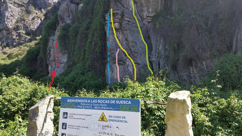The three bolt route climbs roughly along the pink line in the photo. Libre Negra (the Black Book) starts by the red arrow.