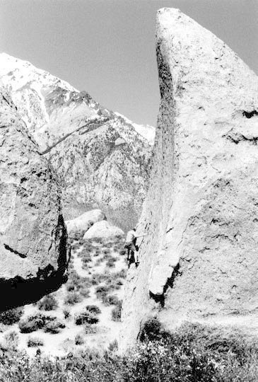 Steve Axt getting high on the Southwest Arete of Grandma Peabody, circa April 1997.