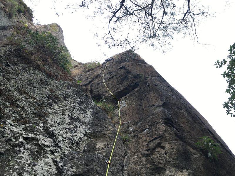 Mauricio Herrera Cuadra climbing Spiritchaser.<br> <br> Photo by Francisco Herrera.