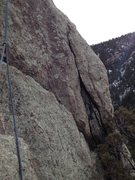 Rock Climbing Photo: The crack on the right is where you move to the sl...