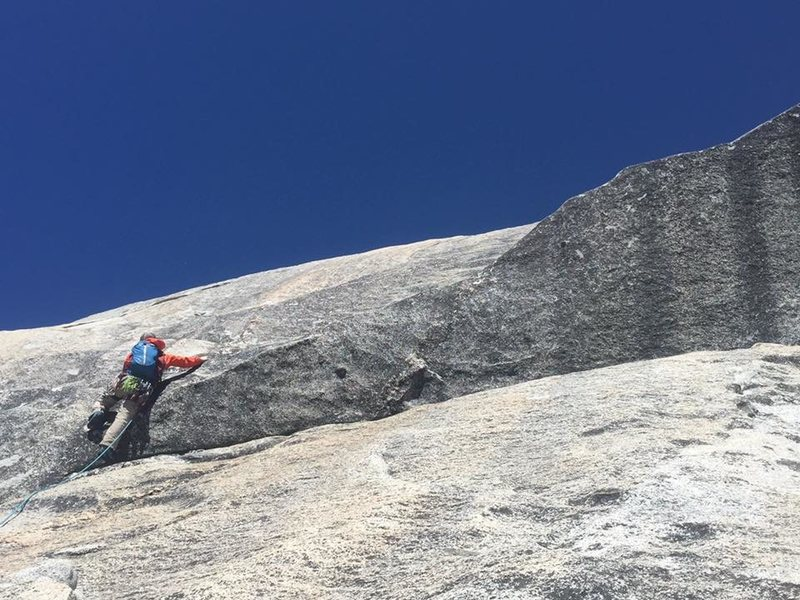 Finishing the technical part of halfdome somewhere off route near snake dike.