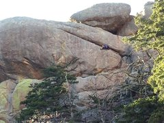 Rock Climbing Photo: Elisha Gallegos leading. Photo by Mark Scott