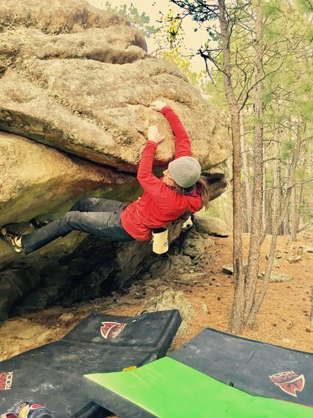 Mark Ellefson reaching the crux