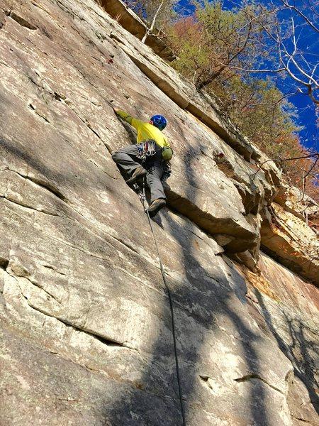 Rock Climbing Photo: Starting the thin moves on Pumpkin Spice, Jamestow...