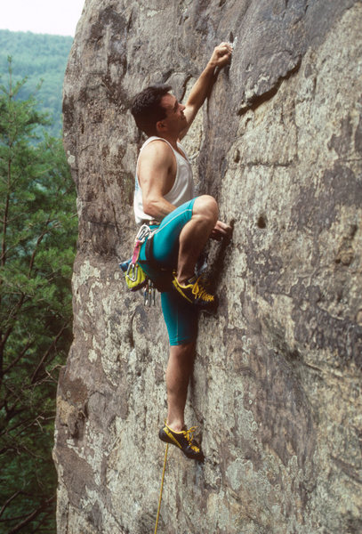 Rock Climbing Photo: Mark Guider, First ascent of Stim-O-Stam. Photo, E...