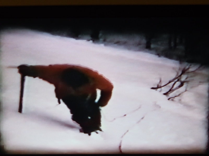 "1967 (3rd, 4th ?) ascent?  The bushes are at the ""Toilet Bowl"".  Note the long ice axe. (From Super 8 movie film)"