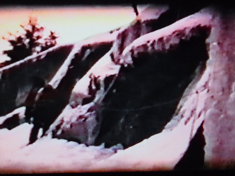 1967...On the &quot@SEMICOLON@ramp traverse&quot@SEMICOLON@ above Brown Spot on the (3rd, 4th??) ascent, 1967 (from Super 8 movie film)