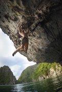 Rock Climbing Photo: Calvin climbin in Le Mekong Cave