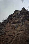 Rock Climbing Photo: Natalie clipping the draw of the second roof from ...