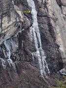 "Rock Climbing Photo: Bottom Section of the ""Myth"" (arrows poi..."