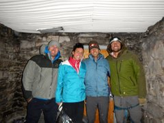 Rock Climbing Photo: In the summit hut after topping out in the dark. I...
