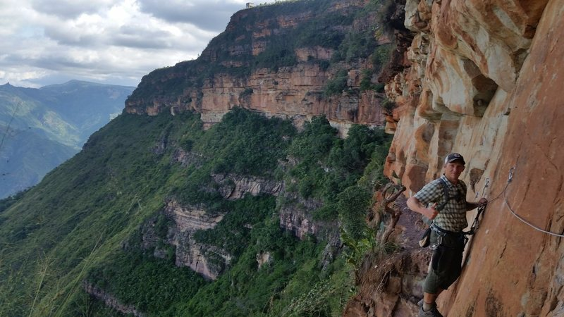 Tim Hall on the via ferrata built by Richardo of Refugio la Roca.