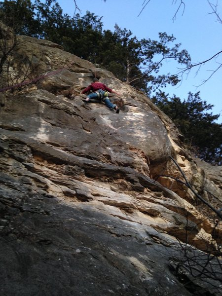 Buck on his first, prebolt ascent of Caveman