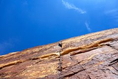 Rock Climbing Photo: Crux pitch of Levitation 29